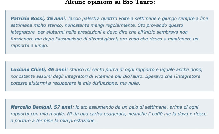Opinioni e pareri su Bio Tauro