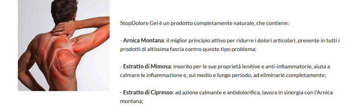 Ingredienti di Stopdolore Gel
