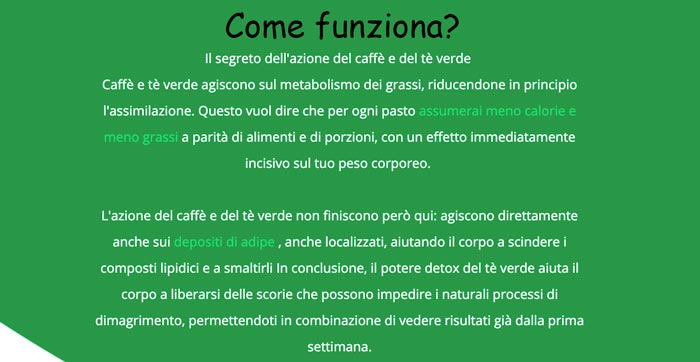 Come funziona Green Coffee e Green tea Plus