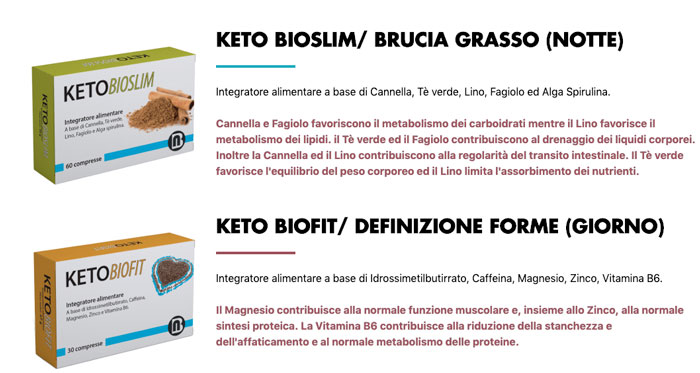 Ingredienti di Keto bio