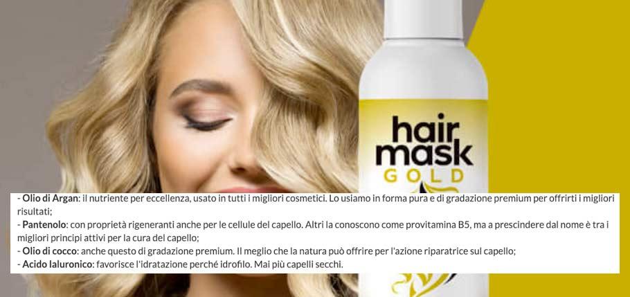 Ingredienti di Hair Mask Gold