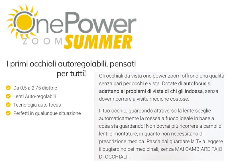 One Power Zoom Summer caratteristiche